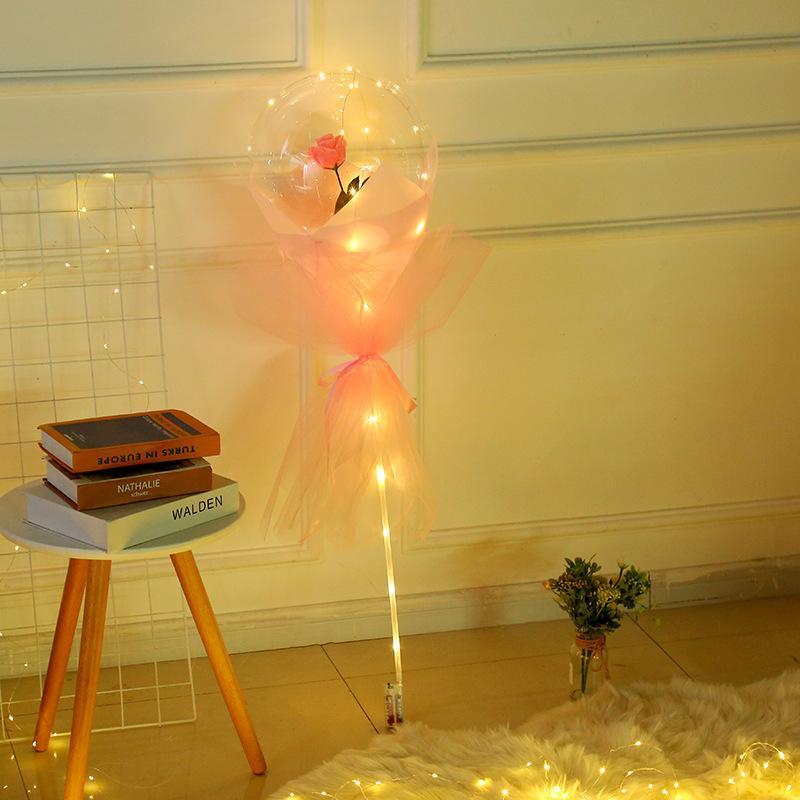 Sevgililer Günü Yanıp Sönen Işık Gül Buketi LED Balonlar Işık Aydınlık Bobo Topu Balon Lover Hediyeler Doğum Günü Düğün T3I51656