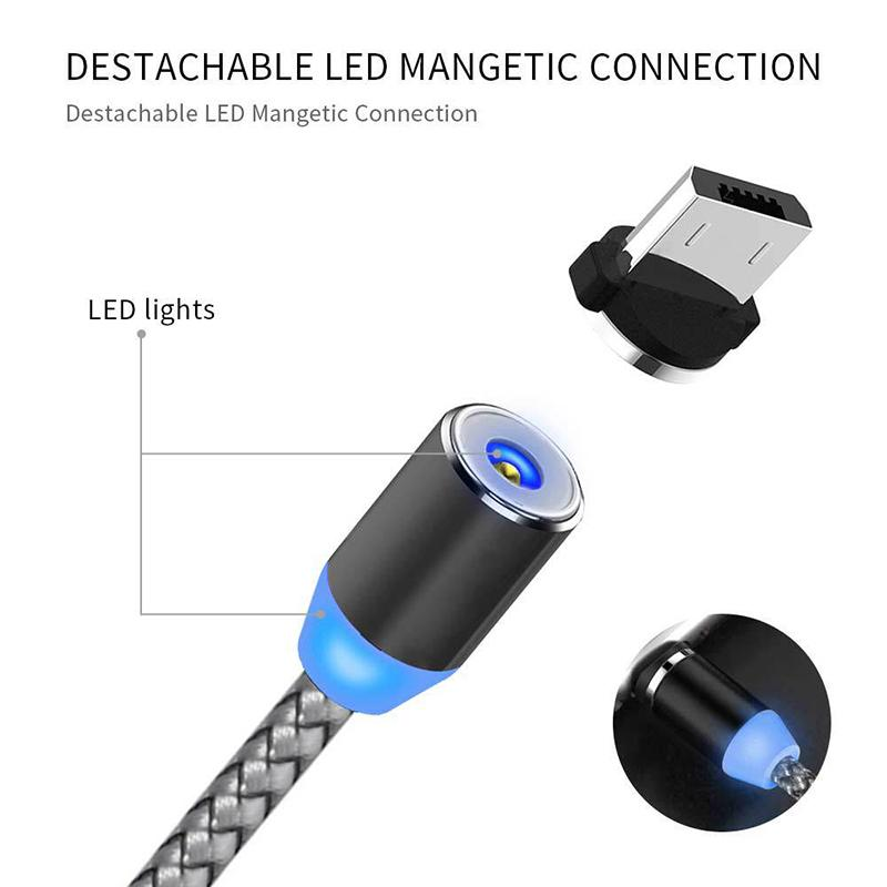 3 in 1 cavi magnetici del telefono magnetico 2A LED ricarica rapida Nylon Brained Brained Type C Micro Cavo USB Cavo Samsung Huawei Moto LG