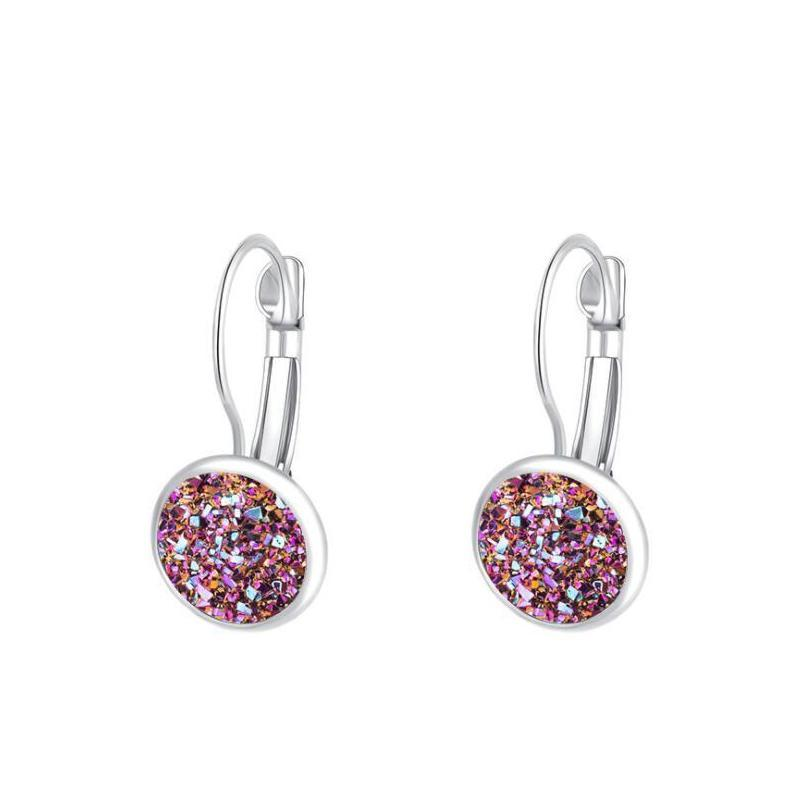 luxury druzy stud earrings bling round heart shape resin stone dangle gold silver earrings for women & ladies fashion jewelry bulk
