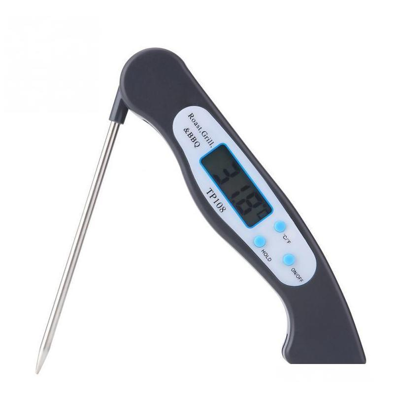 foldable food thermometer programmed digital kitchen food cooking bbq meat fork barbecue probe type temperature gauge