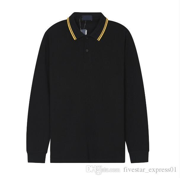 Homens Reino Unido Moda Fred Polo Camisas Inglaterra Algodão Homens Casuais Polos Outono Nova Cor Sólida Lapela Lapela Manga Comprida Perry camisetas Macho Tees Preto