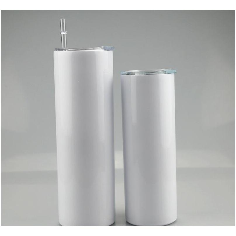 20oz 30oz blank sublimation straight tumblers stainless steel blank white skinny cup with lid and plastic straw sea shipping cca12593