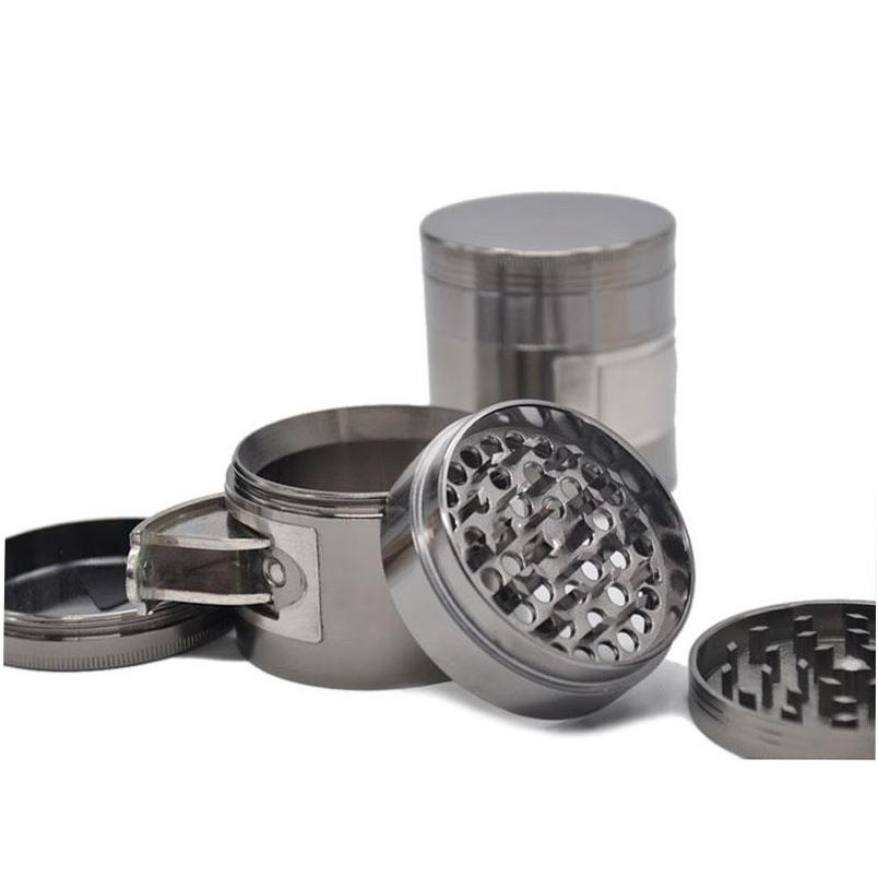 customized logo silver herb grinder- 4 layers 50mm with side windows metal zinc alloy tobacco grinder