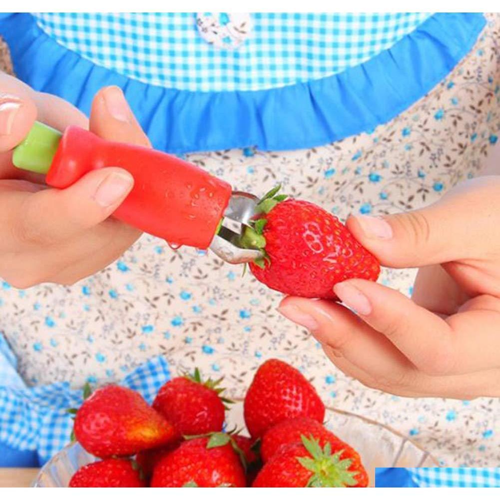 red strawberry huller strawberry top leaf remover fruit tomato stalks fruit knife stem remover useful kitchen gadgets
