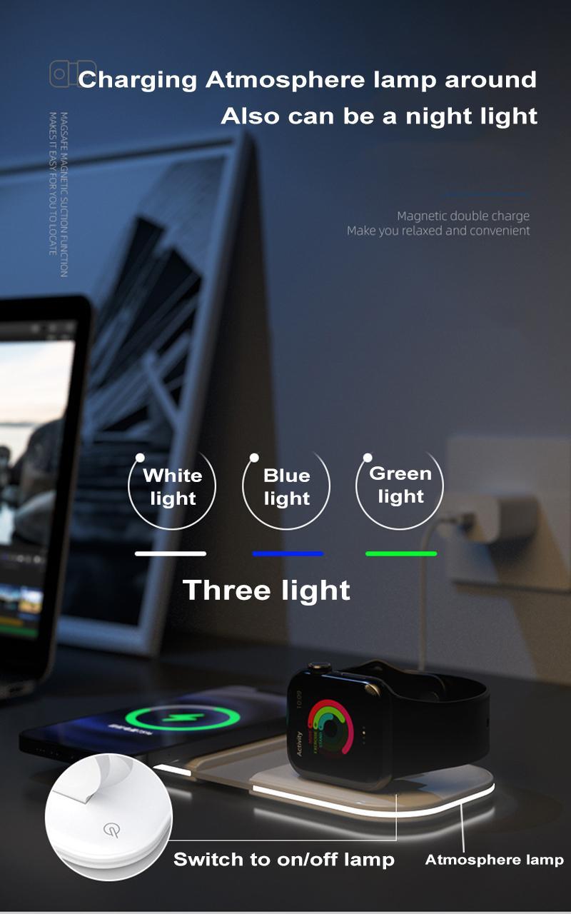 2 في 1 15W شاحن مغسفي المغناطيسي اللاسلكي مع مصباح آيفون 12 iPhone13 ميني برو ماكس الهواتف المحمولة iwatch Qi