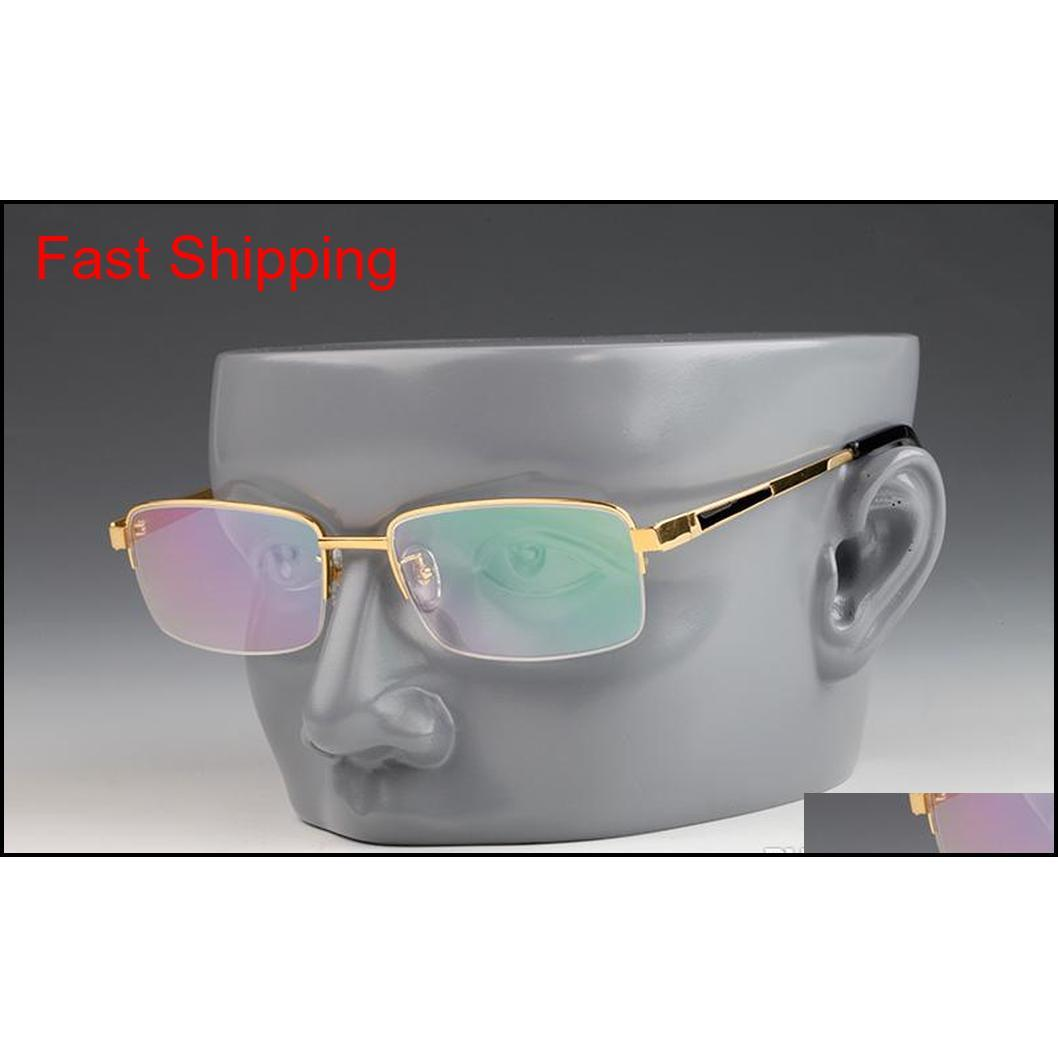 women luxury designer glasses reading glasses deluxe rectangular optical vintage titanium semi-rimless frame mens designer eyeglasses