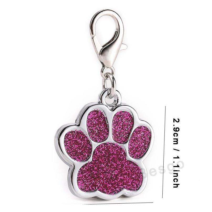 cute dog paw shaped pet tag name brand key ring id card keychain metal puppy cat neck pendant key holder wholesale 6 colors bh2854 dbc