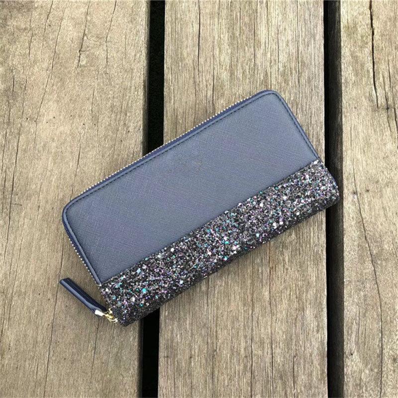 Mode Glitter Brieftasche PU Leder Reißverschluss Brieftaschen Frauen Mädchen Münze Geldbörse Bling Bling Handtasche Mode Design Kartenhalter Outdoor Brieftaschen Weihnachten