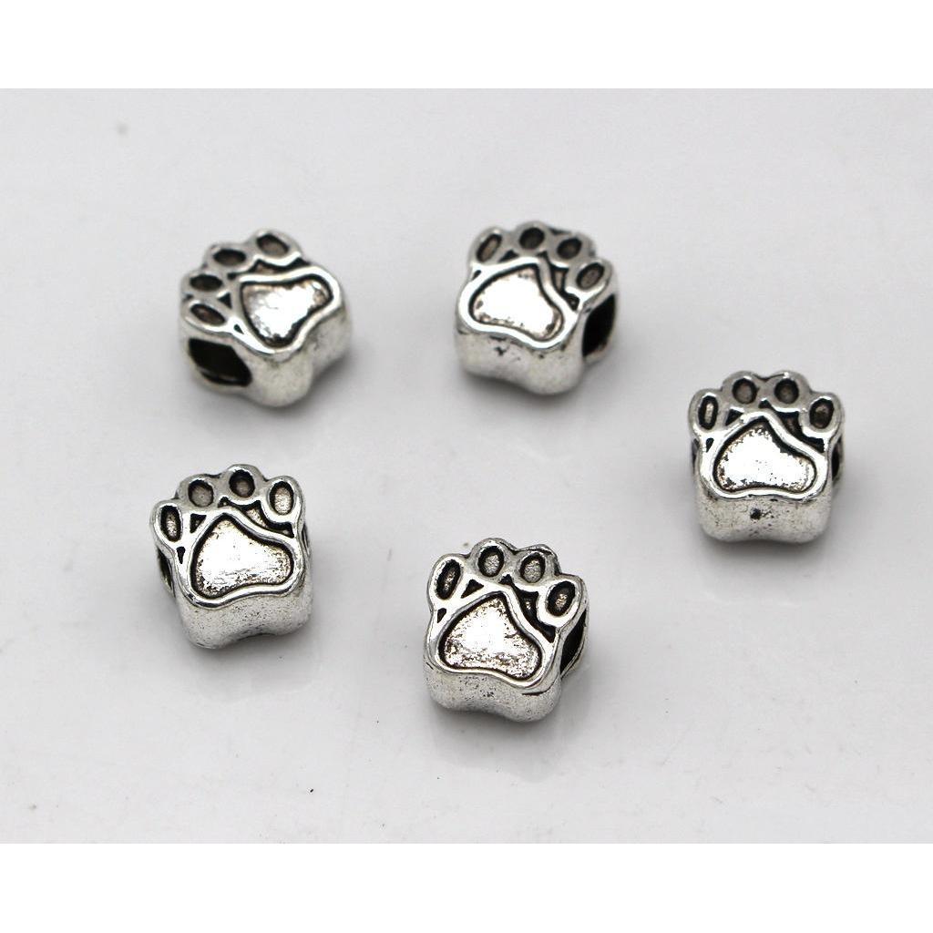shipping 20pcs antique silver tone bear`s paw charm beads fit european charm bracelet 11x11mm