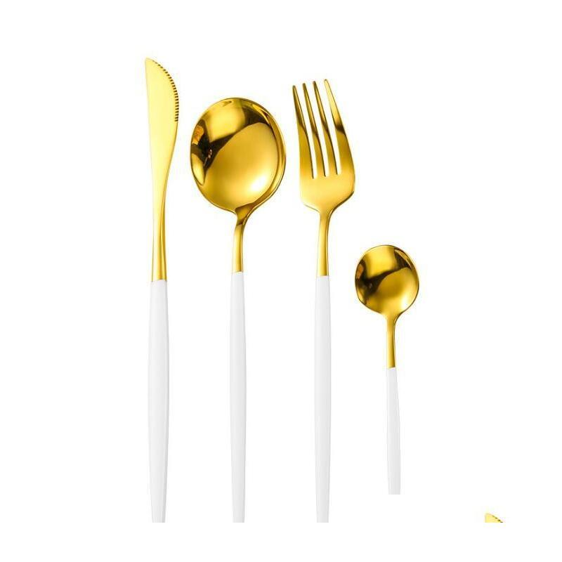 4pcs/set portugal cutlery set flatware set knife fork spoon teaspoon exquisite mirror western tableware sets dinnerware sets