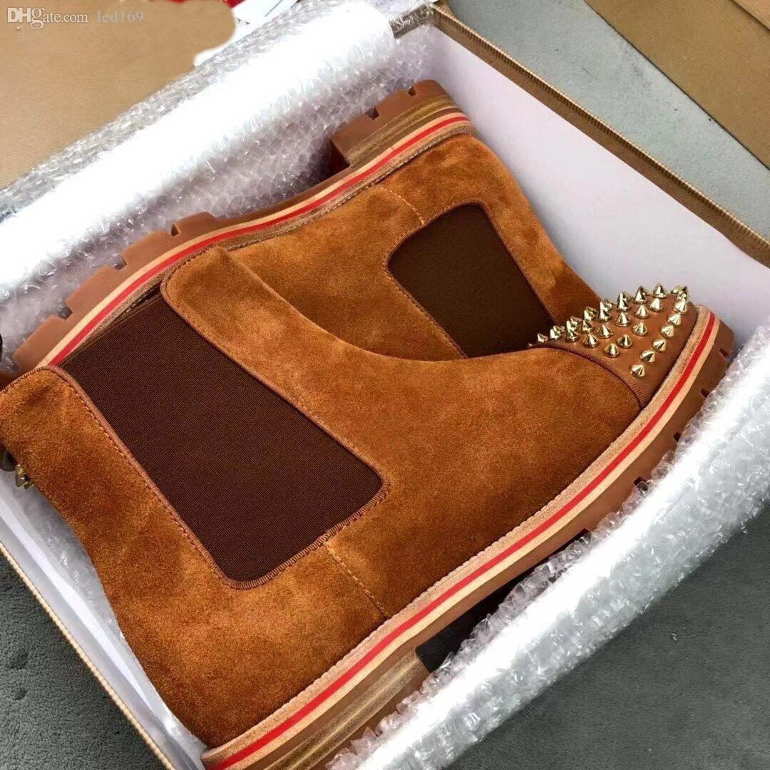 Designer uomo caviglia stivali rossi bottom melone stivali in pelle di vitello nera lugina di gomma sola mens moda bottino famoso festa da sposa da festa