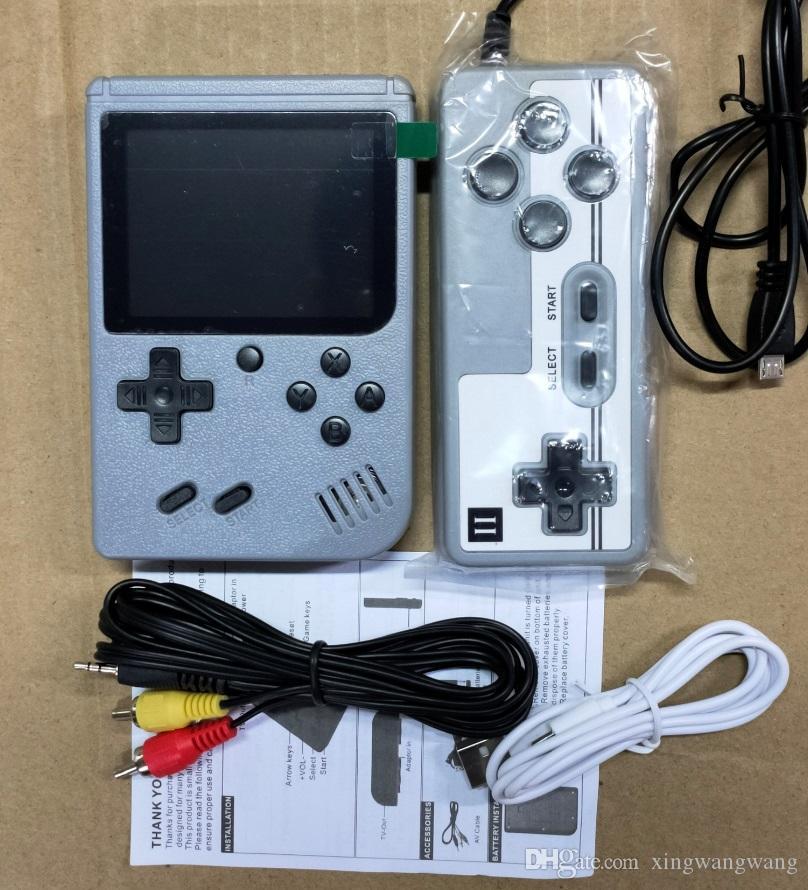 مصغرة الزوجي المحمولة لعبة وحدة التحكم الرجعية المحمولة ألعاب الفيديو 500 في 1 العاب 8 بت 3 بوصة ملون lcd مهد تصميم مع مربع التجزئة