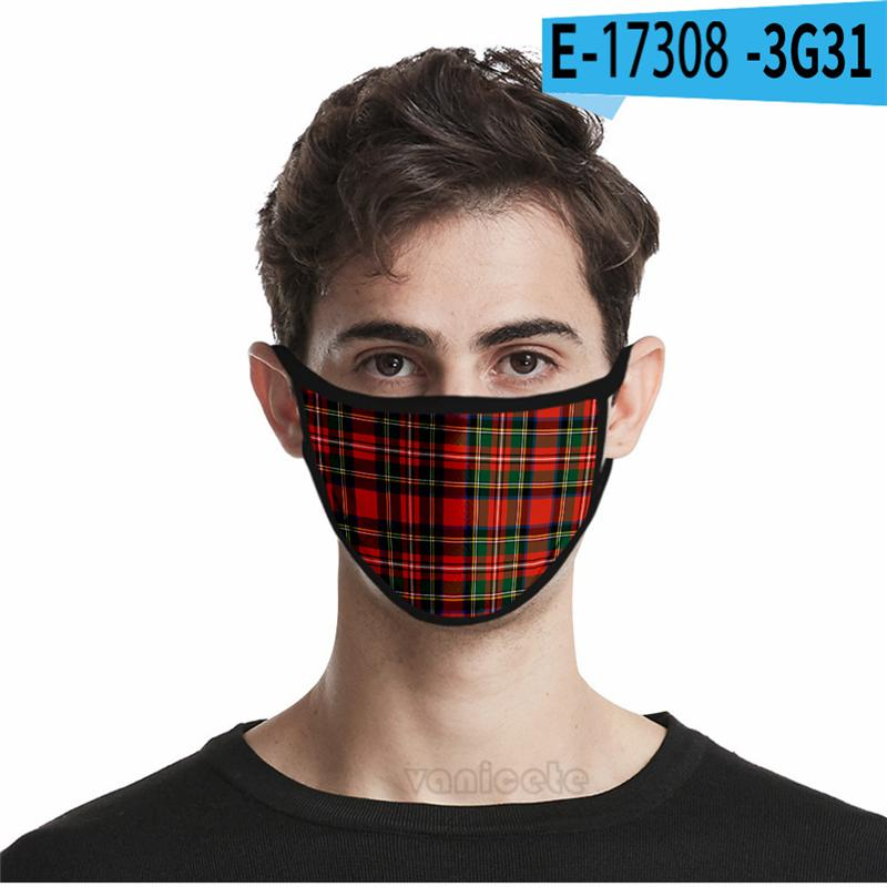 New plaid 3D mask dust proof fashion printed ice silk cloth washable masks in 32 styles for adults and children Face Masks ZY1518