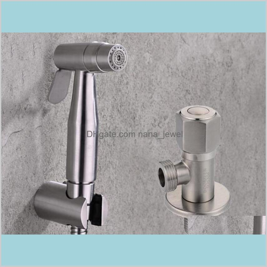 shipping stainless steel two function toilet hand held bidet diaper sprayer shower and stainless steel angle valve bd888