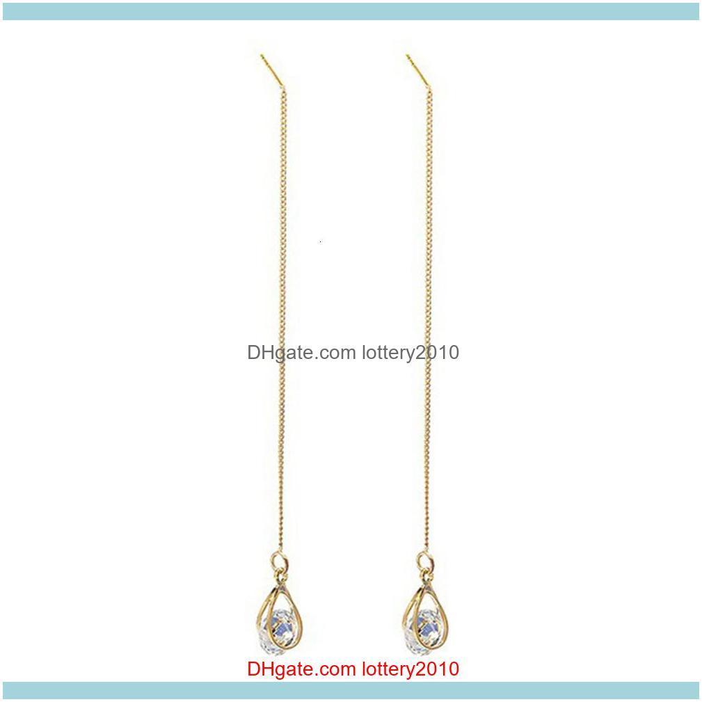 Hot Women Fashion Teardrop Cubic Zirconia Threader Long Chain Line Thread Dangle Earrings