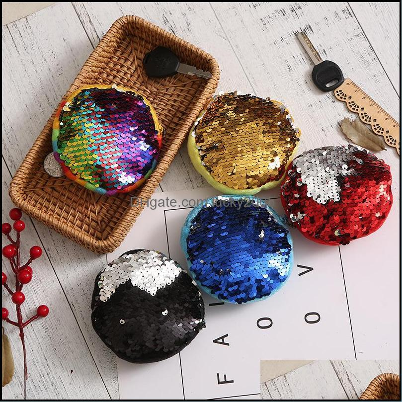 2018 New Mermaid Sequin coin purse mini Storage Bag Key Ring Round Plush Coin Bag students Headphone Bag