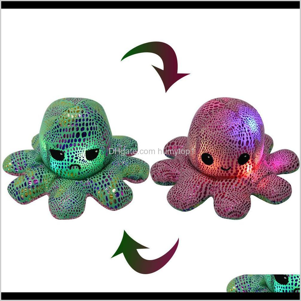 lighted reversible flip octopus stuffed doll soft simulation reversible plush toy color chapter plush doll filled plush child toy