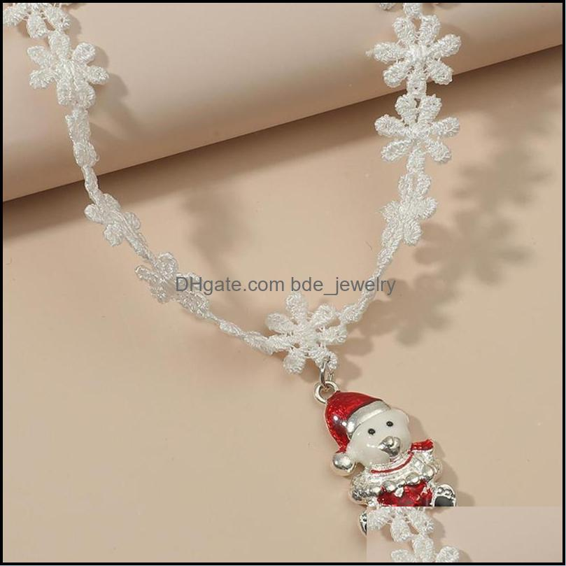 Chains Classic Merry Christmas Gift White Lace Necklace Pendants Lovely Santa Claus Jewelry For Women And Girl Gift1