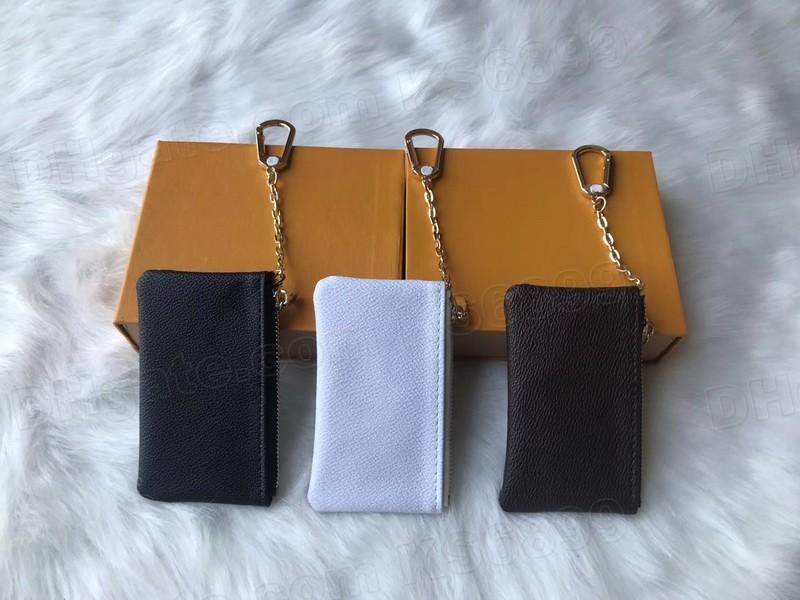 Nueva llegada de calidad superior de calidad de lujo diseño portátil tecla bolsa billetera clásico hombre / mujer monedero bolsa de cadena billetes con caja