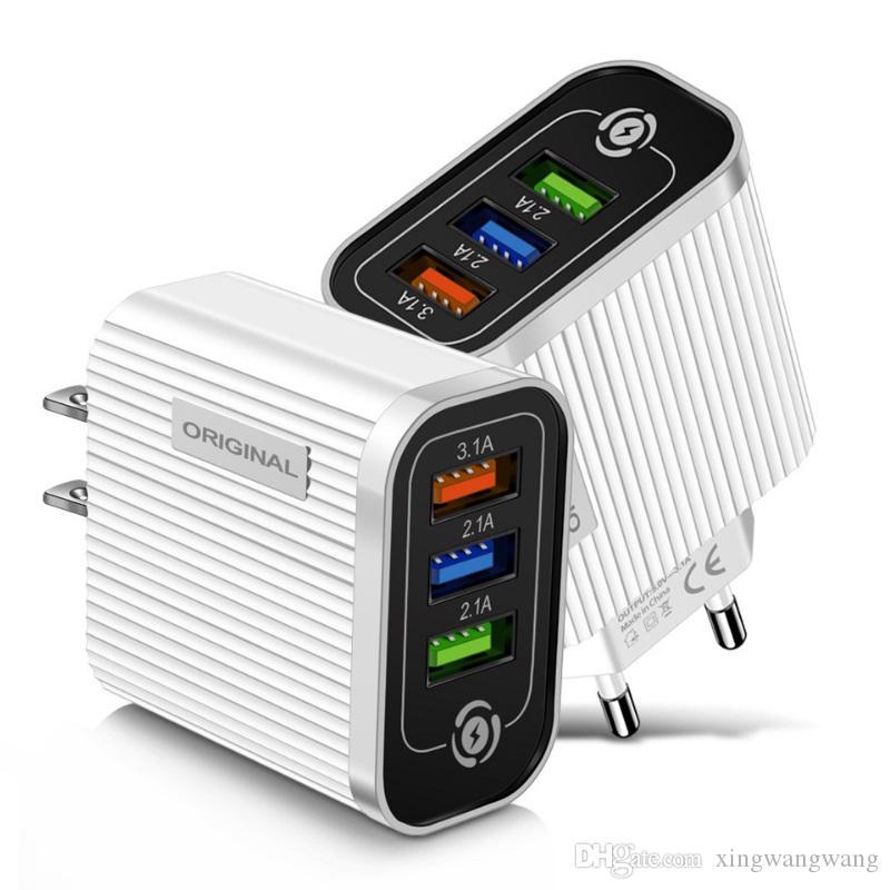 5 فولت 3.1a 3USB منافذ الاتحاد الأوروبي الولايات المتحدة المحمولة الجدار شاحن محولات الطاقة ل iphone x xr 11 12 سامسونج pc الروبوت جودة الهاتف
