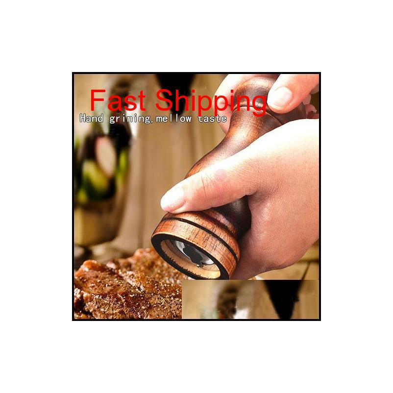new rubber wooden pepper grinder mill with durable adjustable knob for pepper salt and pepper shakers for spices shaker