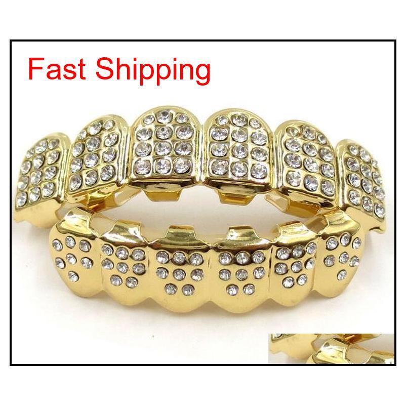 gold grills hip hop gold iced out cz diamonds teeth top silver hiphop jewelry gold teeth grillz rhinestone top&bottom grills set shiny