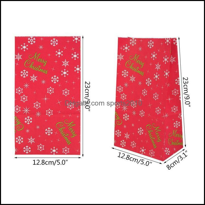 Gift Wrap 10Pcs Christmas Candy Wrapping Kraft Paper Bag  Present Xmas Party Decorations