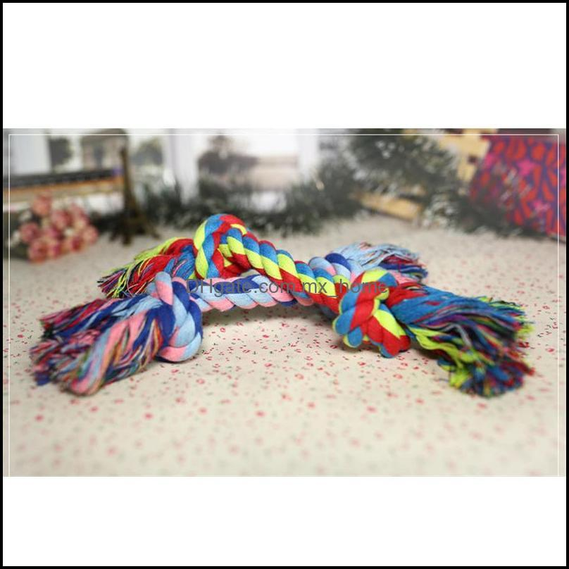 Pets dog Cotton Chews Knot Toys colorful Durable Braided Bone Rope Funny dog cat Toys 18CM