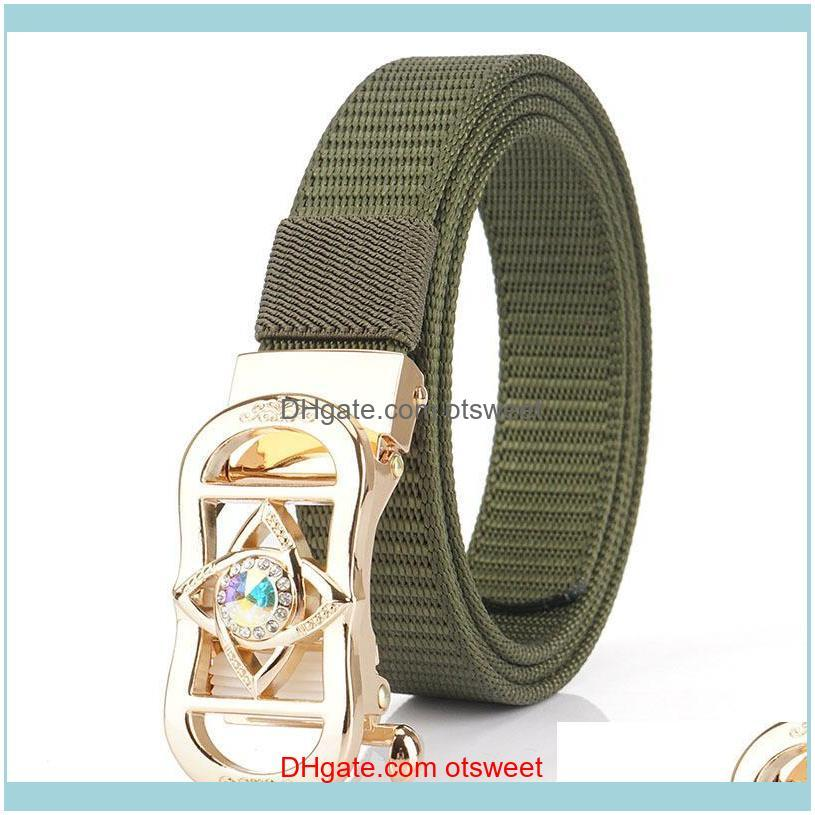 Belts Belt Ladies Fashion Nylon Woven Automatic Buckle Simple Joker Youth Correas Para Mujer Designer Women High Quality