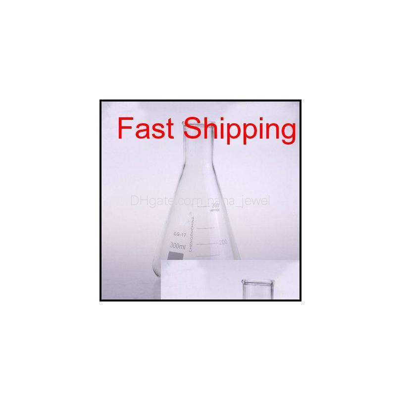 wholesale- 300ml narrow neck borosilicate glass conical erlenmeyer flask for chemistry laboratory