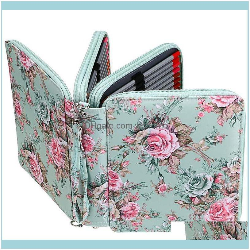 Pencil Bags 120 Slots Colored Case With Compartments Holder For Watercolor Pencils(Rose)1