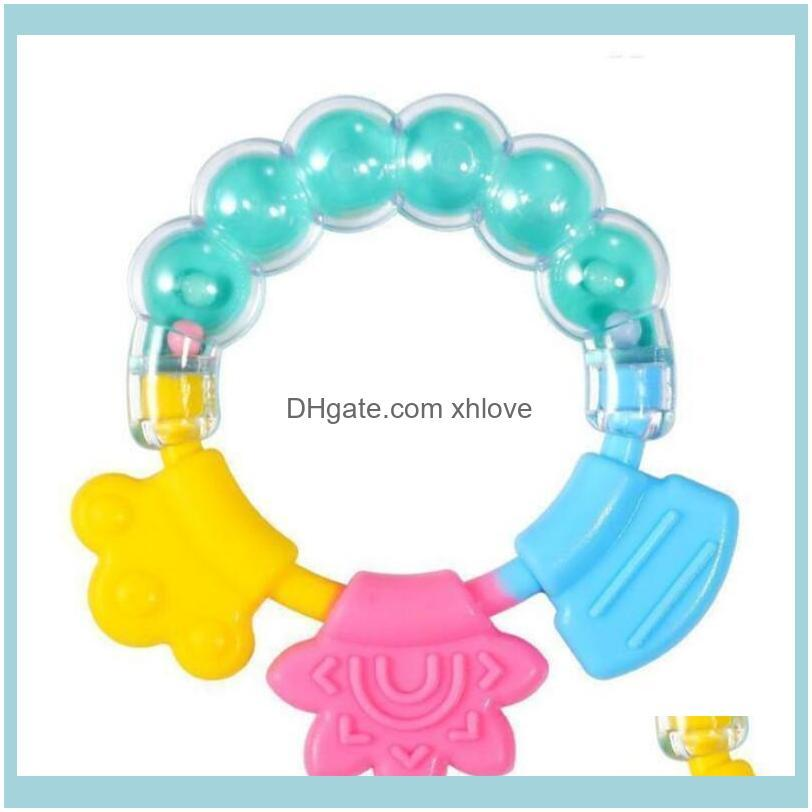 Silicone Tooth Gum New baby Teething Toy Circle Ring Baby Rattles Biting Toy Kid Cute Toy Baby Infant Bell Wholesale Molar Rod WMQ240