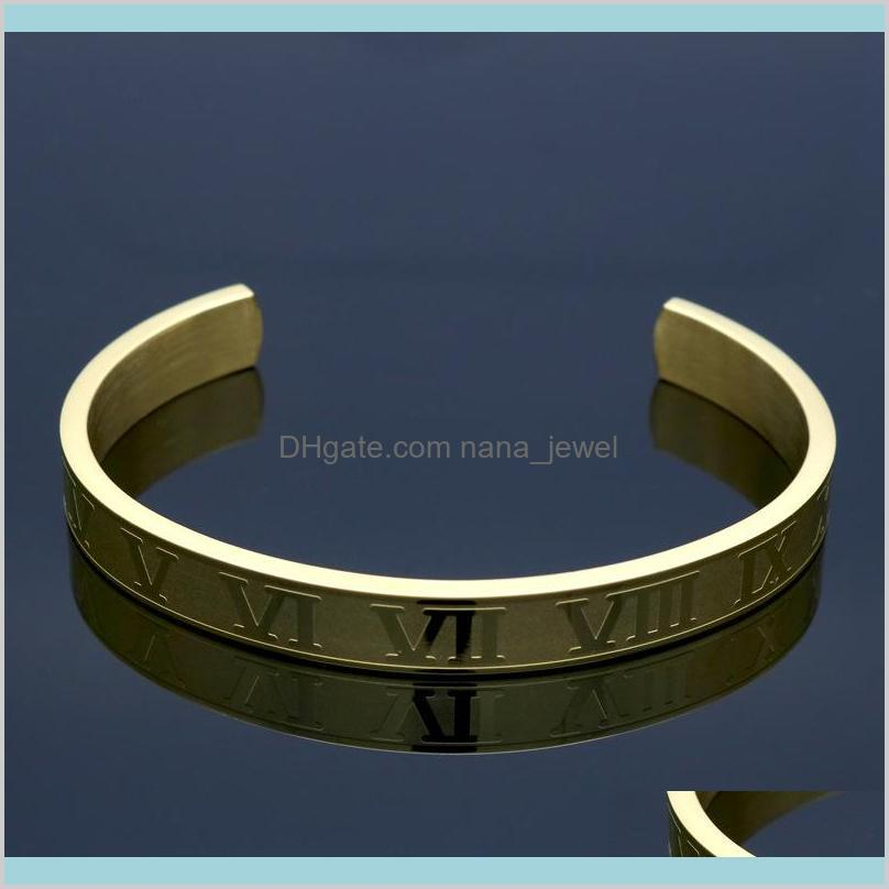 roman numerals cuff bracelets wide and thin version of the same star couple bracelet fashion opening titanium steel bracelet jewelry