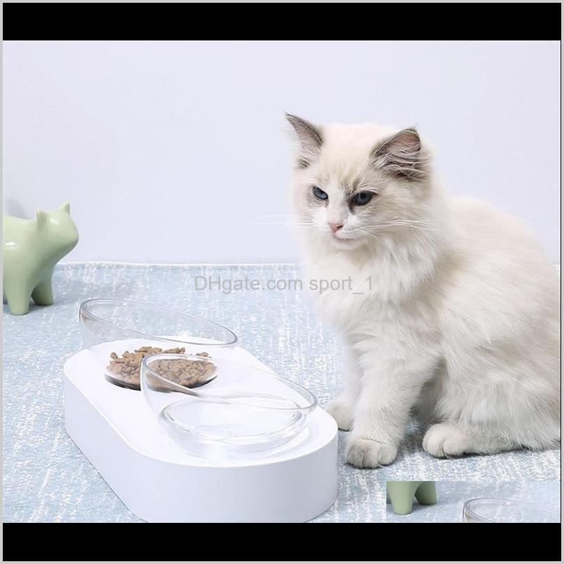 15 degree adjustable pet cat bowl dish one dual port oblique kitten drinking fountain dog water dispenser feeder utensils