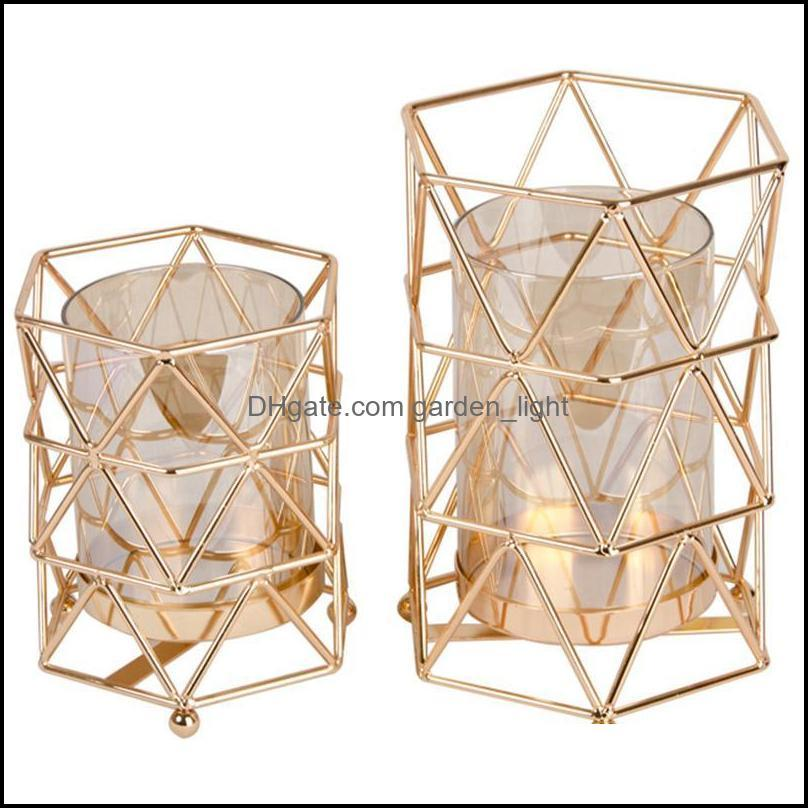 Golden Iron Candle Holder European Geometric Candlestick Romantic Crystal Cup Home Decoration Table Holders