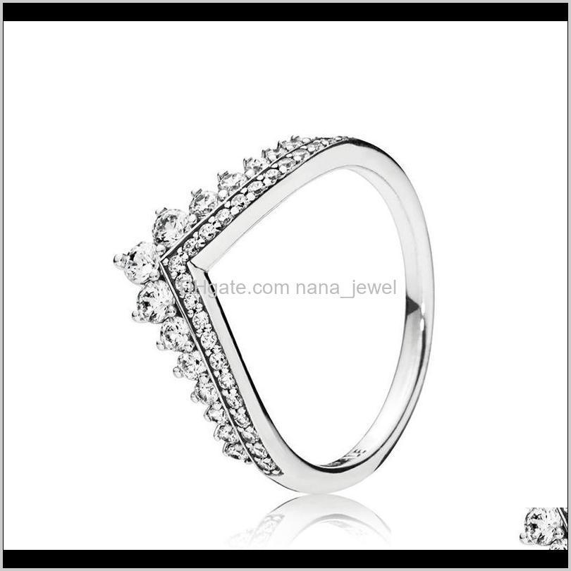 princess wish ring & teardrop rings set top fashion 925 sterling silver women wedding jewelry cz diamond ring with original box
