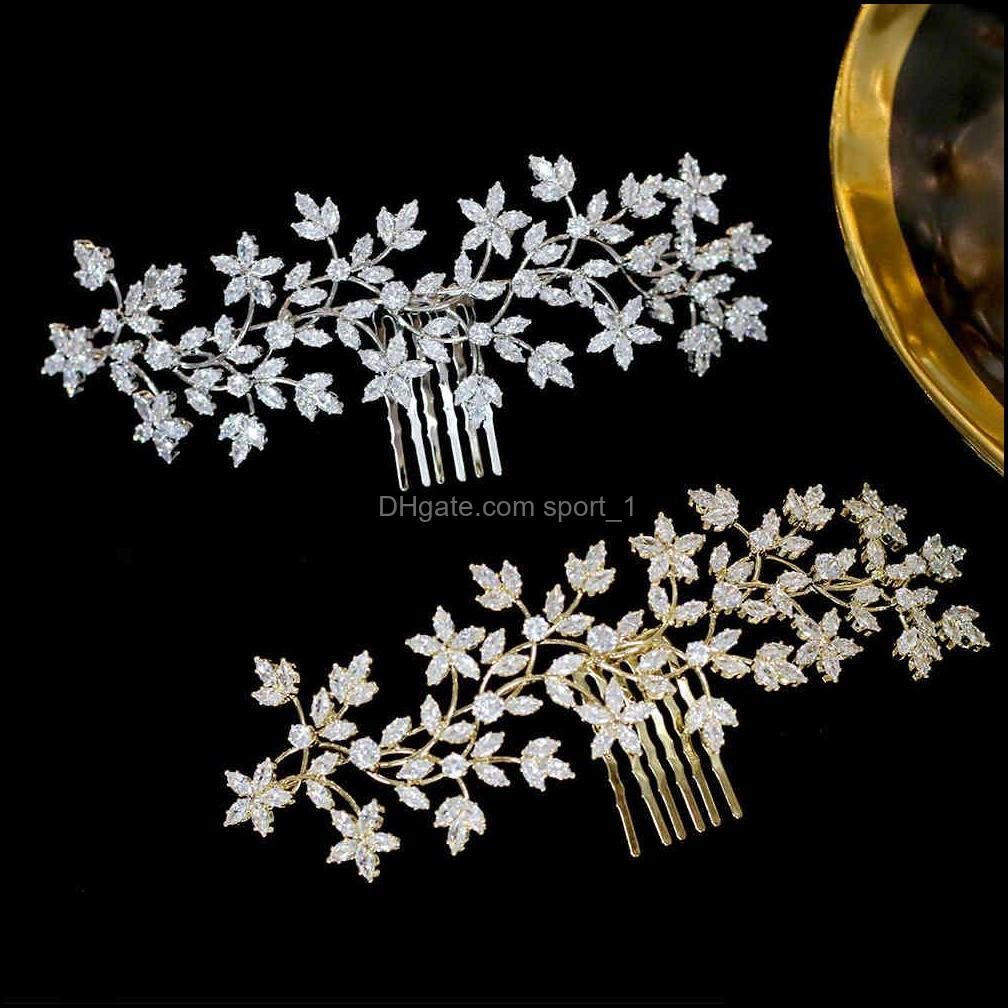 ASNORA Cz Tiaras Hairpin Accessories Bridal Hair Comb Ladies Headdress For Wedding Jewelry Crown
