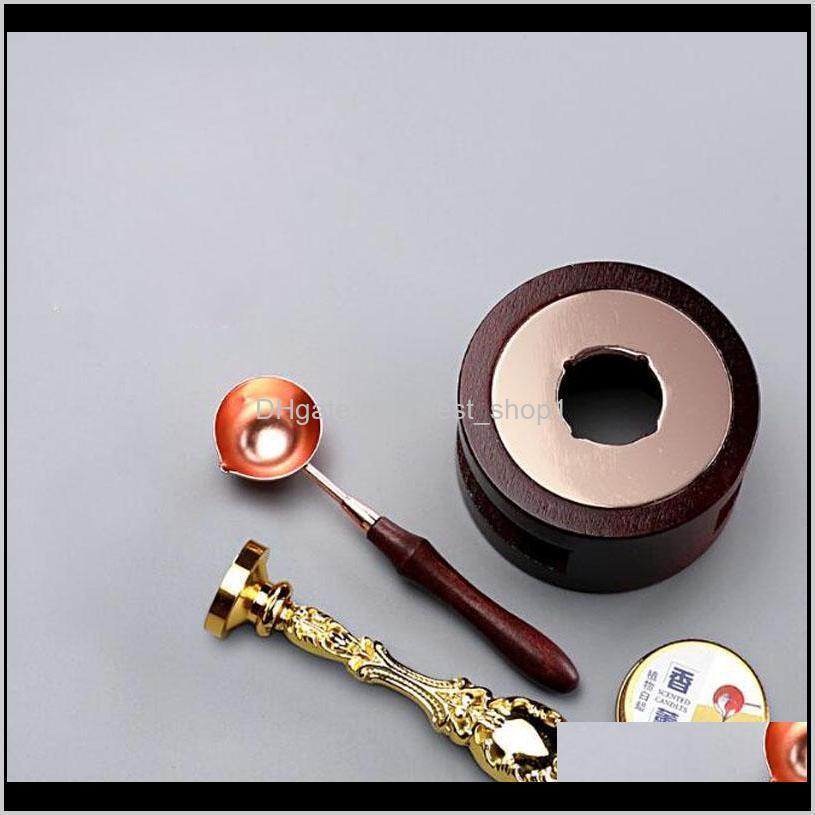 vintage warmer wax sticks melting glue furnace spoon tool wax seal beads sticks stove pot for wax seal stamp candle zc1063