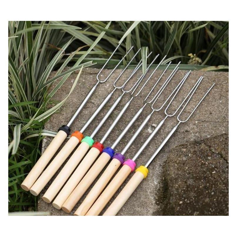 stainless steel bbq marshmallow roasting sticks extending roaster telescoping yd0454
