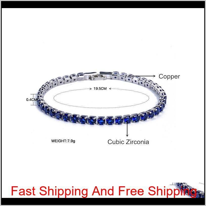 luxury 4mm cubic zirconia tennis bracelets iced out chain crystal wedding bracelet for women men gold silver bracelet jewelry