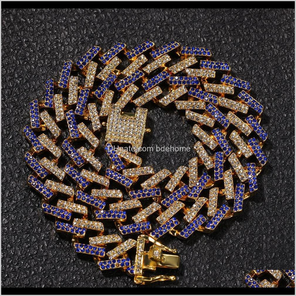 15mm 6 colors personalized gold silver hip hop bling diamond cuban link chain necklace for men miami rapper bijoux mens chains jewelry