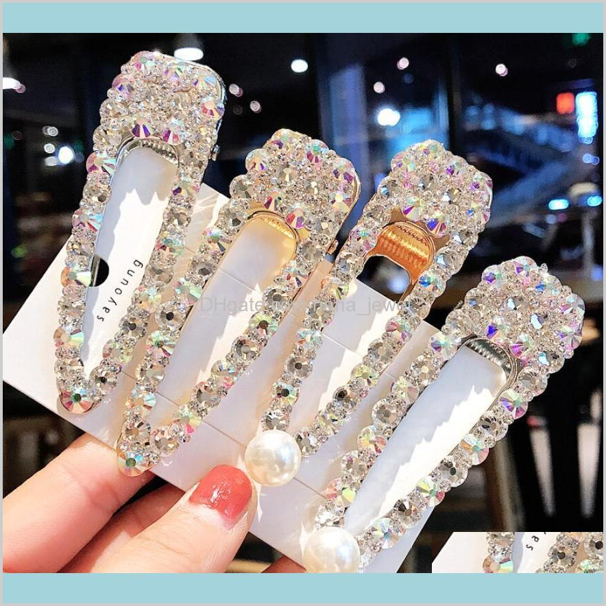 ins crystal rhinestone hair clips lady wedding party bling bling hair pins fashion girl barrettes woman hair jewelry wholesale