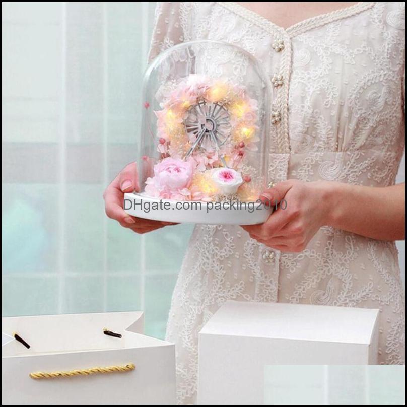 Rose Flower Handmade Eternal Box Led Ferris Wheel Glass Dome Ornament Mother`s Day Gift Girlfriend Birthday Wrap
