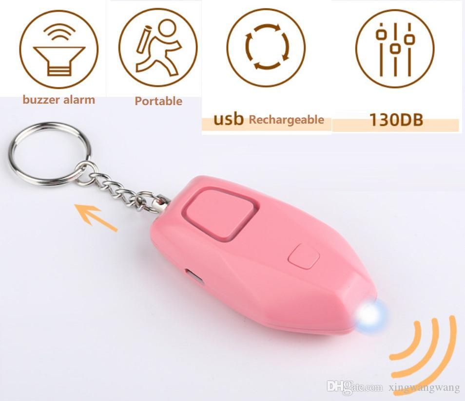 أنظمة إنذار الجهاز القابلة لإعادة الشحن 130db الشخصية صفارات الإنذار مصباح يدوي الذكية عالية الهجوم الذعر سلسلة المفاتيح بالجملة السعر