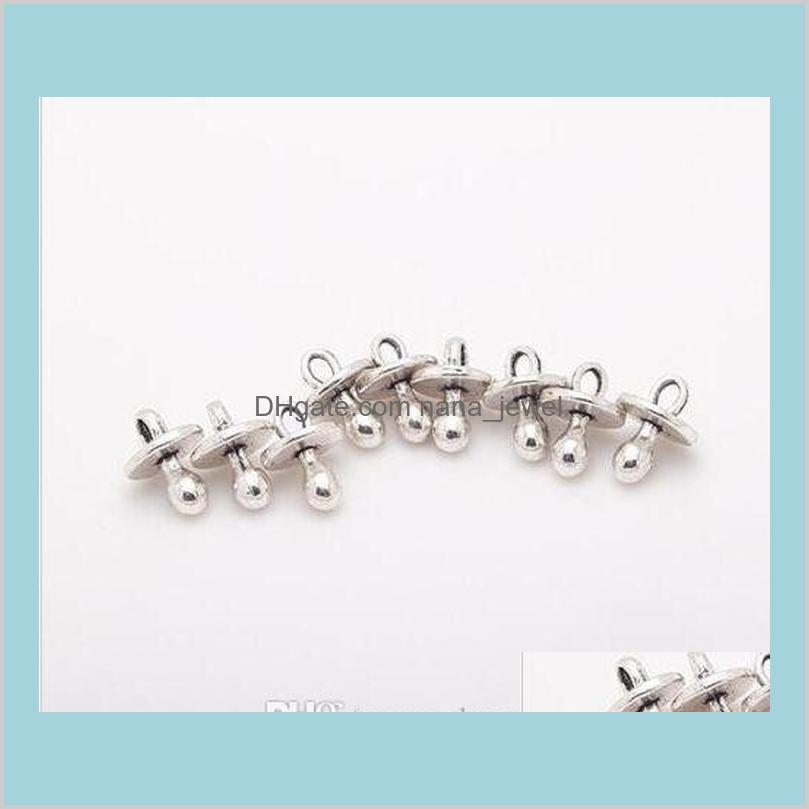 200pcs alloy baby pacifier binky teether nipple charms antique silver charms pendant for necklace jewelry making findings 13x9mm