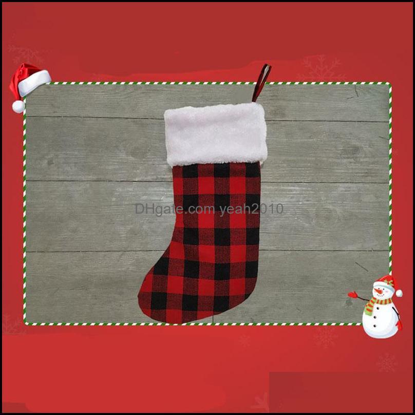 Chrismas Socking Gift Bags Check Cloth Xmas Tree Pendant Big Gift Bag Decor Candy Hanging Socks Festival Supplies 08