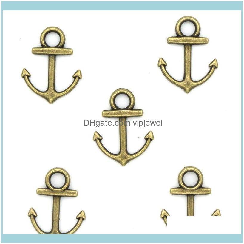 1000pcs 14*19MM diy jewelry Accessories 5 colors bronze silver gold color alloy vintage Ocean anchor charms pendant for bracelet