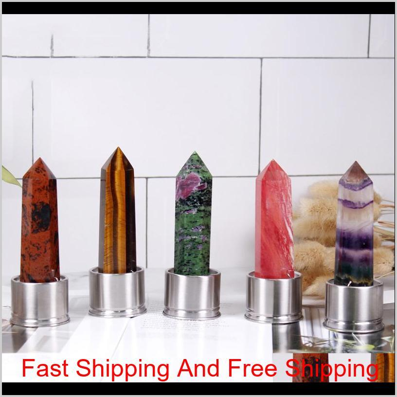 natural quartz gemstone glass water bottle direct drinking glass cup crystal stone obelisk healing wand bottle accesso bbyyku