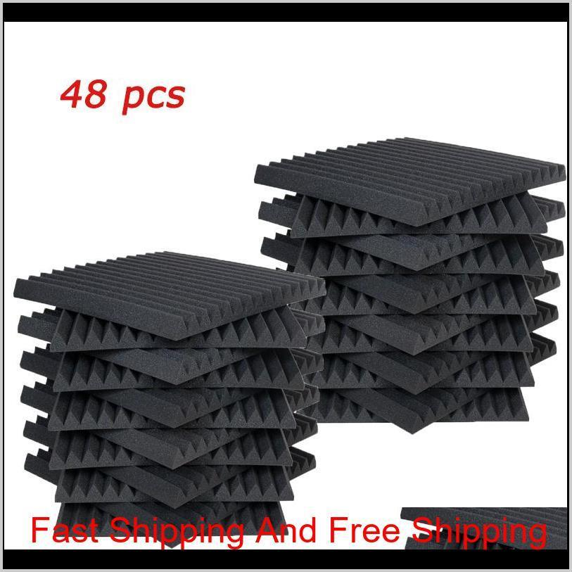 48 pcs acoustic panels studio soundproofing foam wedge 1