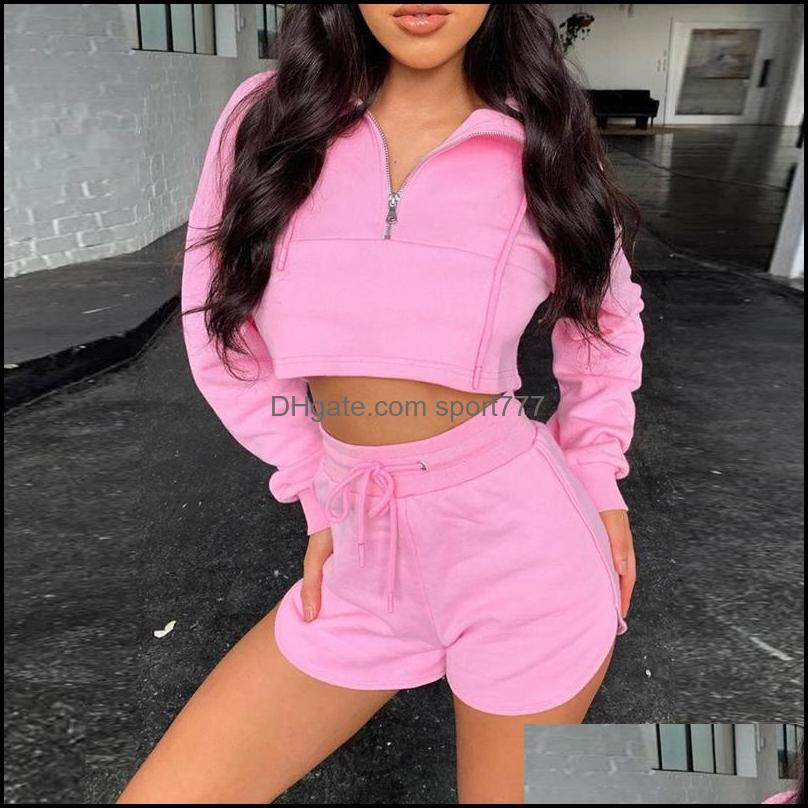 Yoga Outfits Women Long Sleeve Zipper Design Tops Drawstring Shorts Set Solid Tracksuits 2 Pieces Running Gym Clothes